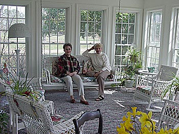 Pat and Nancy on the sun porch.