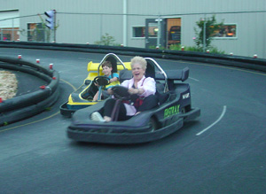 Image of Pat in the Go-Cart.
