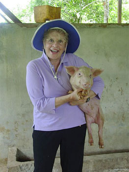 Pat with pig.